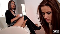 Femdom scene with Mistress Cindy Hope stuffing submissive Madlin's asshole