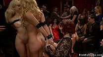 Caged blonde slaves are group fucked
