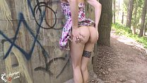 Sweet Babe in Cute Dress Sucking Dick Outdoor - Cum on Tits