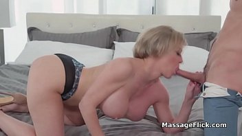 Tit fucking busty MILF during private massage session