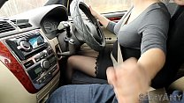Extreme and risky handjob while driving car ! SanyAny nylon ;-)