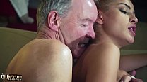 Nasty Cherry kiss is aggressive with old man and makes him fuck her