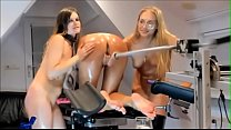 Siswet and 3 hot lesbians change on a fuckmachine in a doggy position