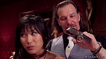 Brunette and Asian anal fuck in party