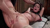 Clamped and tied trainee is fucked