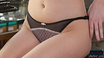 Big natural boobs teen babe Skye Blue strips naked