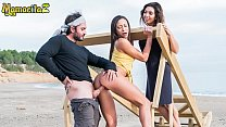 MAMACITAZ - Frida Sante Finds A Horny Guy To Fuck On The Beach With Her BFF Cassie Del Isla