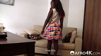 Shy Ebony Girl Takes Her First White Dick