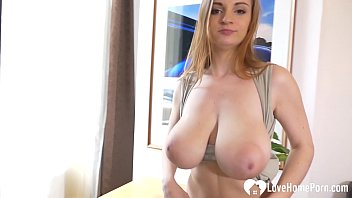 New babe at the office shows her tits