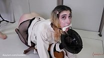 b. anal / painal for teen PAWG Lexi Grey in straight jacket with soap for lube