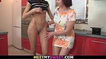 Mature couple and teen girl family threesome