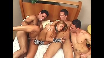 Three bi dudes with huge cocks love fucking each other and one hot chick Gabi Julia