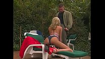 Charming farmer's daughter with big bazookas Briana Banks fools around with muscular armed casino guard near the pool