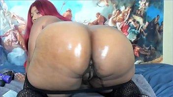 Cute ebony fucking her ass