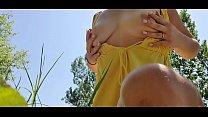 Hot boobs near lake. Teen outside play