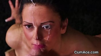 Randy babe gets cum load on her face eating all the load
