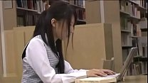 Japanese student orgasm and sex in library