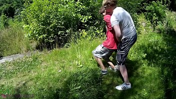 Teen lad caught in the woods, got tied up, a. and to cum