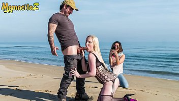 CHICAS LOCA - #Frida Sante #Georgie Lyall - Sexy British MILF Takes Cock On The Beach With Her BFF Watching