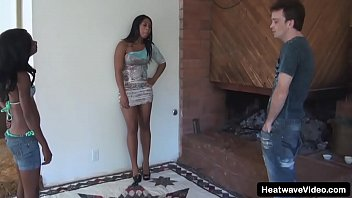 Chocolate teen with supple tits is fucked by white guy