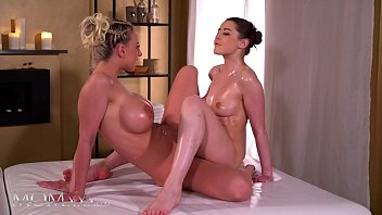 Massage Rooms Nathaly Cherie and Sybil Kailena oil soaked sex and passionate lesbian scissoring