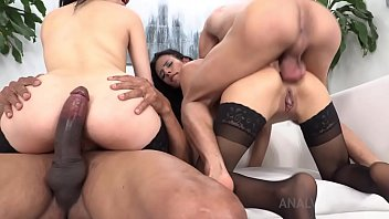 Emily Pink & Daniela Ortiz lick cream from each other's ass and get hardcore DP NT038