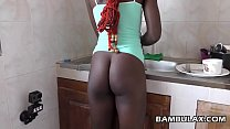 Young african maid filled with hot cum