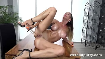 Big Titty Blonde Oils Up And Fucks Her Hole