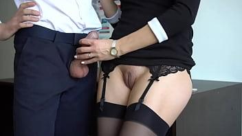 Amateur Milf Secretary In Stockings Handjob Boss Cums Part1