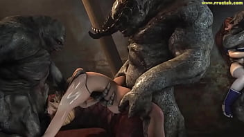 Massive 3D Animation Compilation involving Monster that roughly destroy game girls