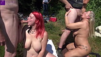 Mom and stepdaughter were dirty used by countless men at a bathing lake! Part 1