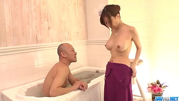 Chihiro Akino stands nude and deals cock like a pro