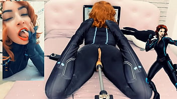 Black Widow Loves Your Cock in her Pussy - Big Toy on a Sex Machine - Cosplay Girl HD