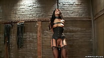 Bound trainee in lingerie gets whipped