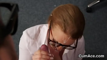 Wicked beauty gets cumshot on her face eating all the ejaculate