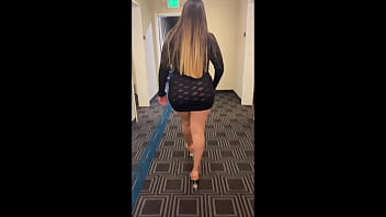 Having fun wearing a see through short dress in hotel public areas 5 min