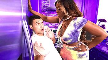 Stepson gets punished by his big black stepmom - ebony porn