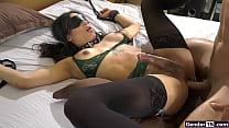 Busty shemale Eva Maxim tied up and anal