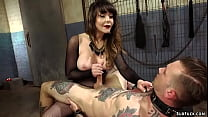Busty dominatrix pegging tattooed man
