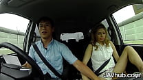 JAVHUB Blonde Japanese girl fucks two guys in her car