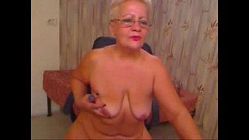 Pervert grandma having fun on web cam. Real amateur