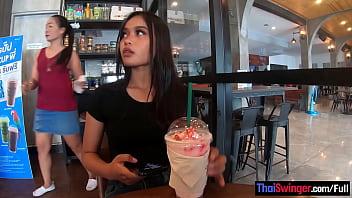 Starbucks coffee date with gorgeous big ass Asian teen girlfriend