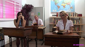 School lesson turned to group fuck, facial cums included