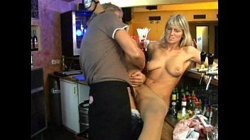 Blond in bar getting fucked