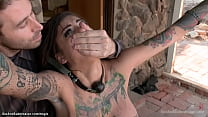Tattooed teen is tied and fucked