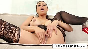 Sexy busty MILF Priya Rai pleases her sexual urges