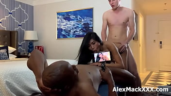 Friends are Sharing a hot asian girlfriend together 21 min