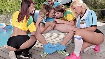 Soccer Babes Compete For World Cup Finals Tickets - Medusa, Zoe Doll, Lucia Nieto, Blondie Fesser