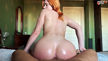 Girl with Oiled Big Ass Deepthroat, Riding On Dick and Cum Swallow - Sweetiefox