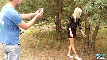 Blonde hottie Katerina is a bit shy first, but then took hard cock bravely public